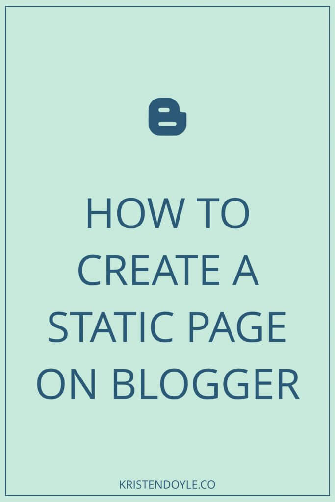 how to create a static page on blogger